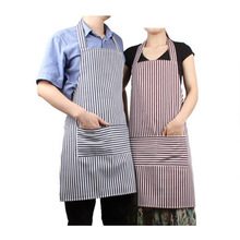 Adult Apron Kitchen Restaurant Bar Chef Cook Waiter Polyester Stripe Bib Cook Cleaning Tools Blue / Red Stripe -15
