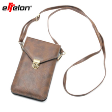 "Effelon Universal 6.3"" PU Leather Phone Bag Shoulder Pocket Wallet Pouch Case Neck Strap For iPhone 7 6s plus Samsung S5 S4(China)"