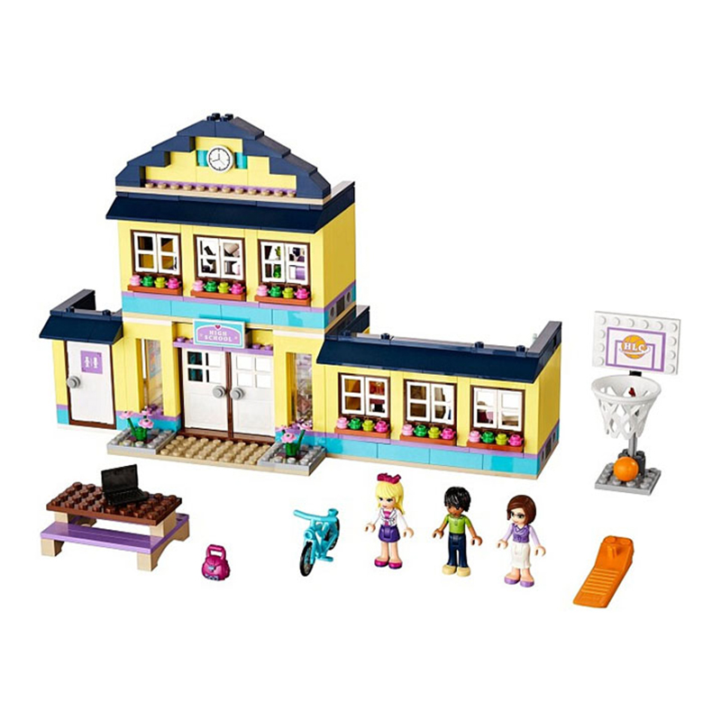 New Girls Friends Heart Lake City School Building Block Sets 489pcs Assemble Bricks toys Compatible with 10166 LEPIN<br><br>Aliexpress
