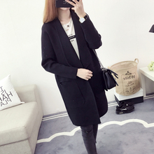 New Fashion Spring Autumn Female Ladies' Women's Long Knit Lapel Turn Down Collar Pocket Loose Casual Sweater Cardigan Coat