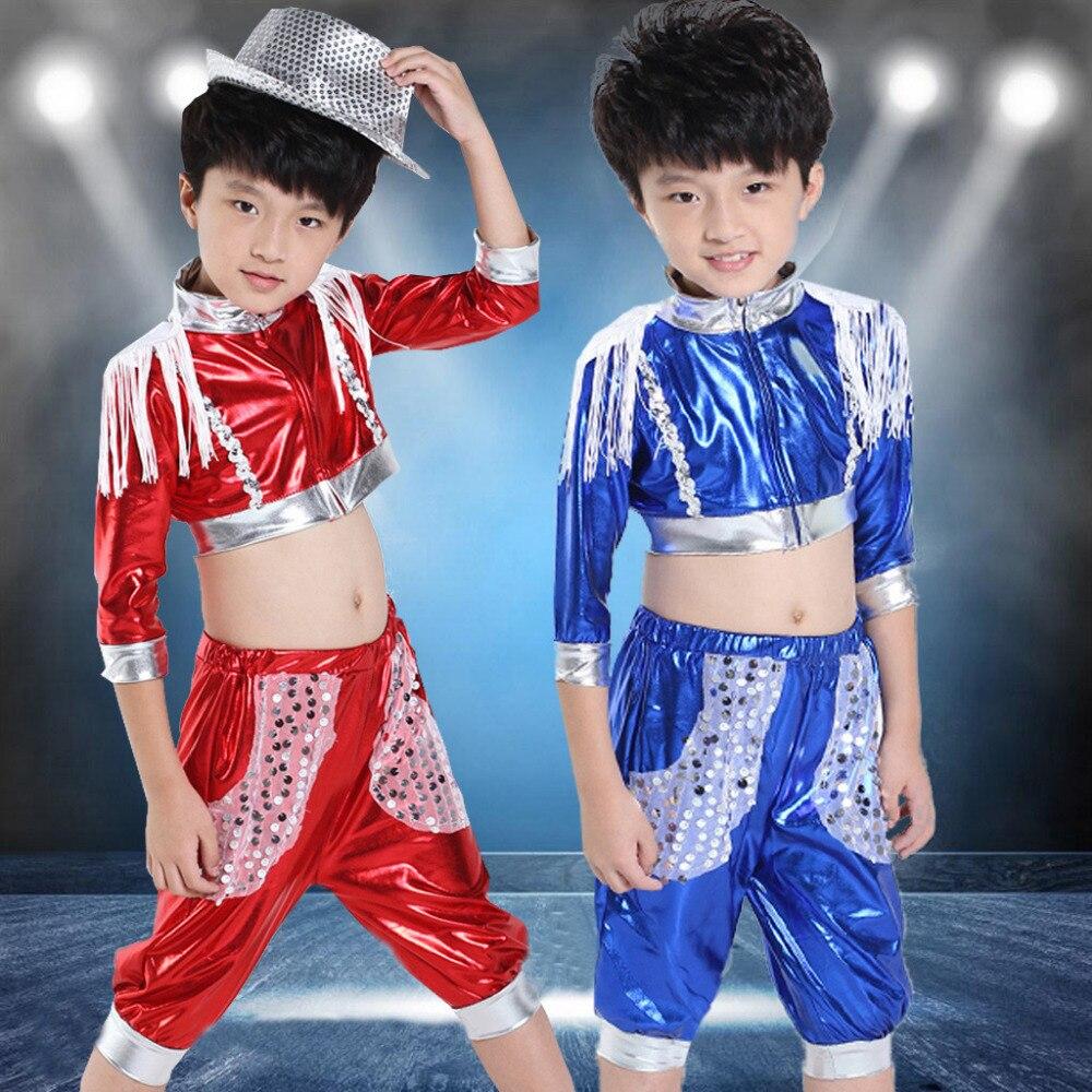 2016 spring summer childrens clothing set Jazz Costumes Sequin Hip Hop dance shorts &amp; tassel T-shirt kids  suits twinset<br><br>Aliexpress