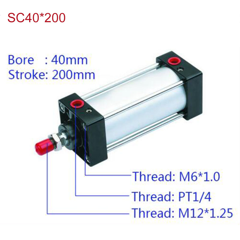 SC40*200 Free shipping Standard air cylinders valve 40mm bore 200mm stroke SC40*200 single rod double acting pneumatic cylinder<br>