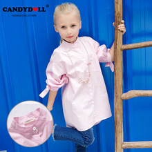 Candydoll Girls Blouses Children 100% Cotton Blouses Baby Girls Long Sleeve Pink Casual Blouses Bow Sleeve Shirts 3-10Y SAJ3153(China)