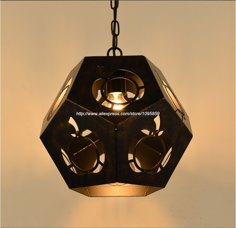 New Arrival Vintage Retro Dining Room Hollow Metal Pendant Light Lamp Black Color Ceiling Fixtures Lighting<br><br>Aliexpress