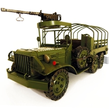 Patriotism Theme World War II Military Trucks Model Creative Iron Craft Gift Home Bar Decoration