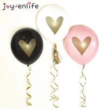 "JOY-ENLIFE 10pcs 12 Inch White/Black/Pink ""Gold Heart"" Latex Balloon Baby Shower Birthday Party Kids Party Wedding Decor Supplie"