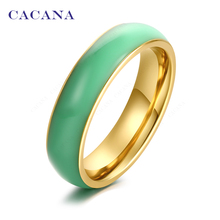 CACANA Titanium Stainless Steel Rings For Women Bright Ceramics Fashion Jewelry Wholesale NO.R140 141(China)