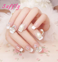 Saffly High Qaulity 24pcs with rhinestone Fake Nail Decorated Acrylic Nail tips Pre Design Nail Tips Long 3D Fake Nail For bride
