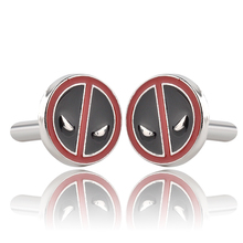 Superhero Movie Deadpool Black With Red Enamel Cufflinks For Mens Fashion Brand Cuff Buttons High Quality Cuff Links Souvenir