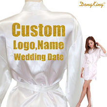 DongKing Custom LOGO Short Style Robes Bridal Party Kimono Robe Personalize Wedding Party Gold Glitter Print Satin Robes(China)