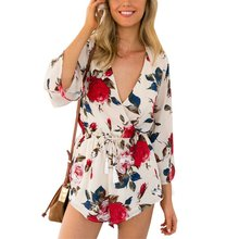 Women Rompers Sexy Club Wear Jumpsuit Floral Print Summer Playsuit Kimono Shorts Beachwear