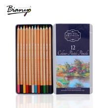 Bianyo 12Colors Pastille Pencils Tin Box Professional Artist Colored Pencil Set For Drawing Sketch Pen School Children Supplies(China)