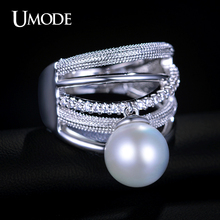 UMODE Fashion Bague Femme CZ Paved Three Bands Simulated Pear Luxury Rings For Women White Gold Color Party Jewelry Anel AUR0165
