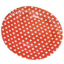 "1bag 10 pieces 7"" Polka Dot Paper Plates for Valentine Birthday Wedding Nursery Party Tableware Party Supplies red"