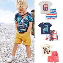 New 2018 Brand 100% Cotton Summer Baby Boys Clothes Set 2pcs Children Clothing Suit Bebe Kids Short Sleeve Clothes Set Baby Boys(China)