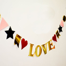 Advertising proposal wedding wedding room layout wedding photography on Valentine's day FALL IN LOVE flags decorated Garland(China)