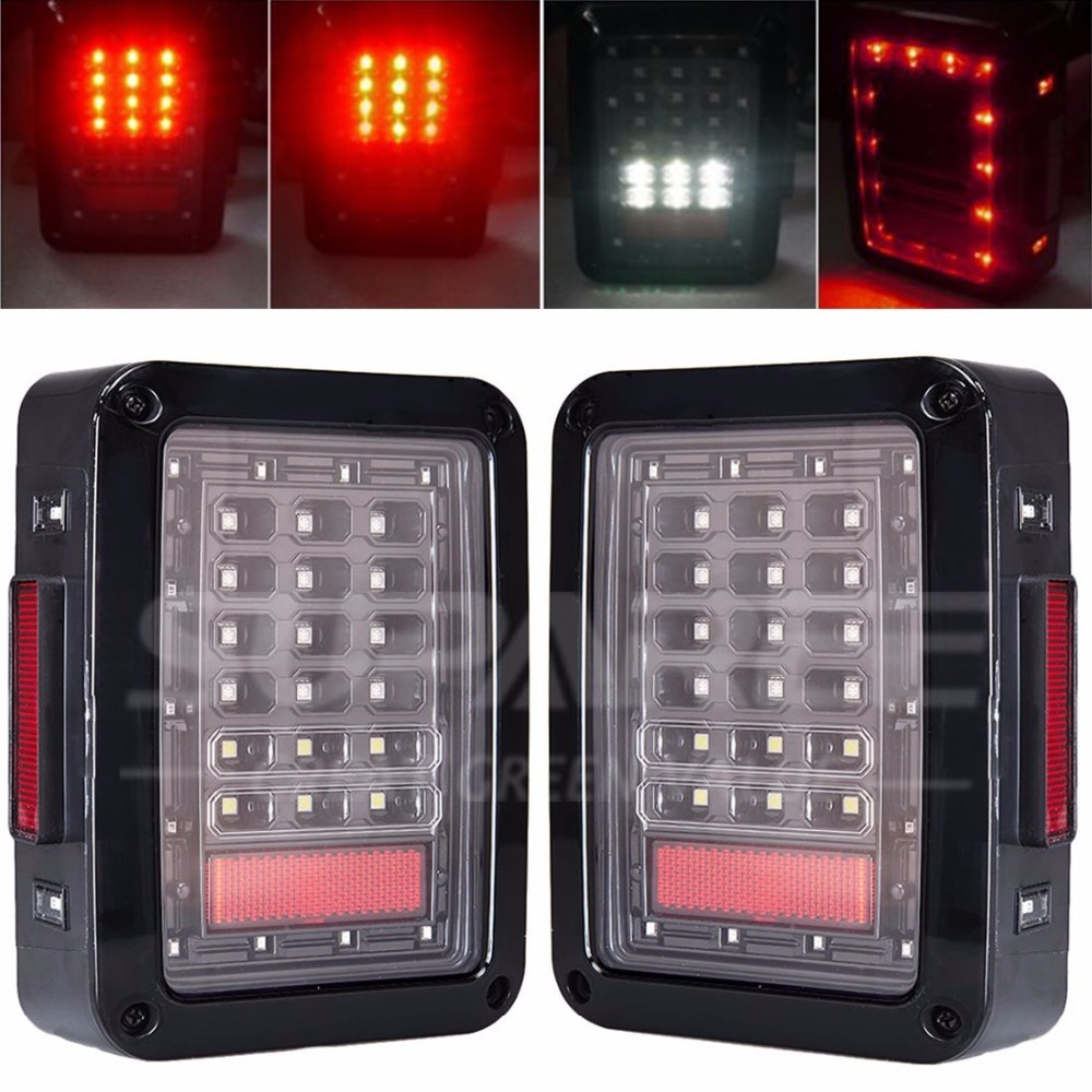 Promotion price ! 1pair LED Tail Lights Integrated Rear Turn Signal Lights ABS Brake Lamp 12V Car-styling for jeep<br><br>Aliexpress