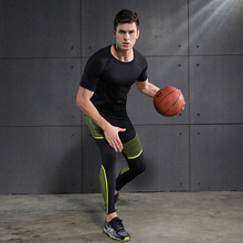 2 pics/set Running Sets Men's Sportswear Compression Tights For Fitness Running Basketball Soccer jersey and pants Gym Clothing(China)