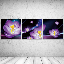 3PCS Flowers in kind Purple daffodils beautiful Wall Vintage Oil Painting Prints on Canvas Landscape Pictures Home Decor Cuadros