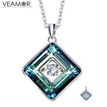 Veamor 925 sterling silver purple/blue cube square pendants necklaces with movement of the stone jewelry crystals from swarovski(China)
