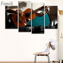 Canvas Wall Art UnFramed Home Decor Pictures 4 Pieces Electric Guitar Paintings Vintage Music Instrument Posters HD Printed PENG(China)