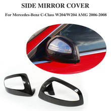 Carbon Fiber Add on style Rearview Mirror Covers Side Wings Caps For Benz W204 C230 C280,C300 C350 C63 AMG 2007-2009(China)