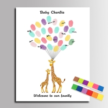 Fingerprint Signature Canvas Painting Giraffe Mom with Her Kid DIY Guest Book Baby Shower Decorations