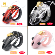 Prison Bird Smaller Cock Cage Male Electro Chastity Device (ECB) Shock Transparent Belt Lock Plastic Device Sleeve Sex Toys A192