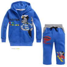 Autumn cartoon kids hoodie and pants set plus velvet blue wolf soft clothes set for 2-8yrs children boys girls outerwear set hot