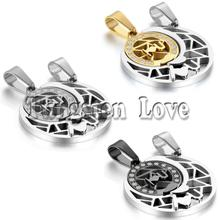 2pcs/pair Fashion Couple Stainless Steel Sun Moon Matching Puzzle Pendant Lover Necklaces for Valentine Gift 3 Colors selectable(China)