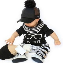 Retail 2016 New glasses design children clothes baby boy girl clothes soft short-sleeved T + stripe pants free shipping  BB190