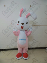 pink rabbit costumes cartoon bunny mascot costumes EVA head with fan and helmet