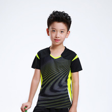 Free Print Children Badminton t shirt Boy , Girl sports Tennis tracksuit , kids Badminton t shirt , Child Tennis shirt AF006(China)