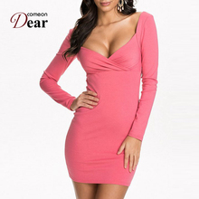 Comeondear Nouveaute Femme 2017 Women Winter Fashion Dresses Formal Plus Size Women RB70241 Pink Robes Crochet Bandage Backless