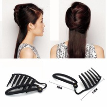 1Pc 11CM Women DIY Formal Hair Styling Updo Bun Comb And Clip Tool Set For Hair French Twist Maker Holder