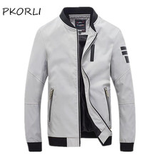 Pkorli New Men Jacket Spring Autumn Fashion Slim Fit Windbreaker Coats Zipper Designer Male Thin Baseball Bomber  Jacket Coat