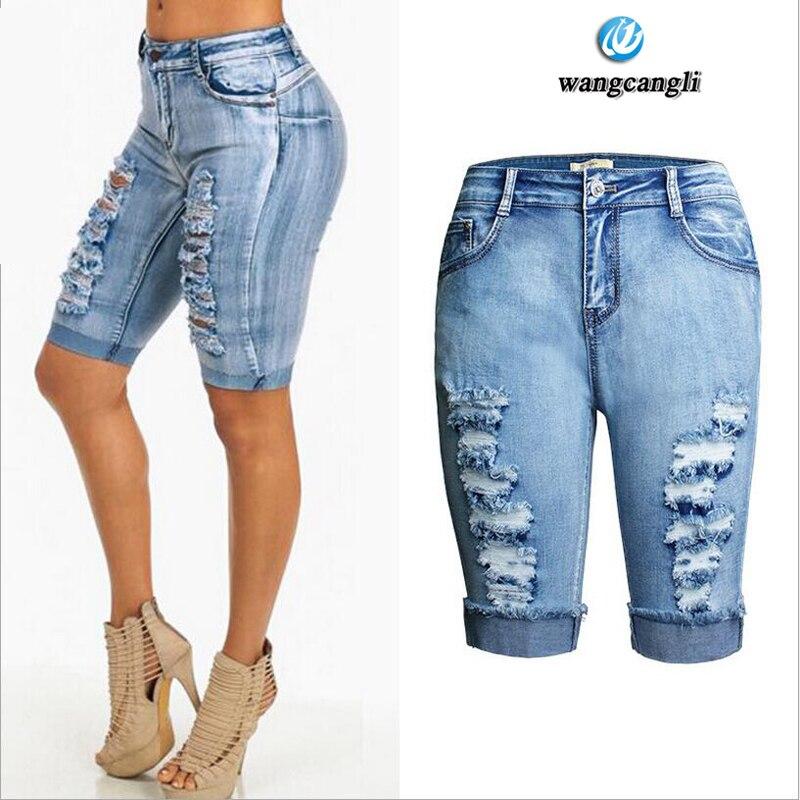 quality skinny jeans women Stretch Wipes Worn Scrolls shorts women Cowboy Pants High waist Cuff boyfriend jeans plus size femme Îäåæäà è àêñåññóàðû<br><br>