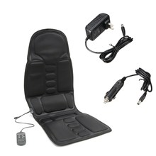 Black Car Seat Back Massage Chair Heat Seat Cushion Neck Pain Lumbar Support Car Pads