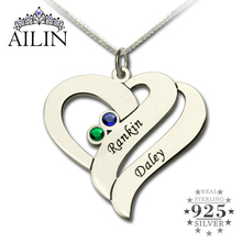 Wholesale Two Name Hearts Necklace Engraved Initial Hearts Mother Pendant with Birthstone Silver Dainty Mother Necklace(China)