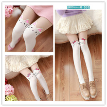 2017 Kids Pantyhose Tight For Girls Lovely Hello Kitty Stocking Velvet Girls Stockings Cartoon Patchwork Kids Girls Tights(China)