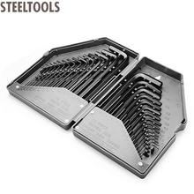 STEELTOOLS 30 Pieces Metric/ Imperial Combined Long Pattern Hexagon Key Set Allen Wrench Spanner Hand Tool in Plastic Case