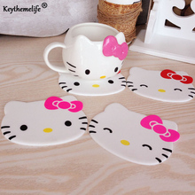 Keythemelife Cartoon 1PCS Silicone Drink Pads Dining Table Placemat Coaster Hello Kitty Kitchen Table Accessories Mat D9(China)