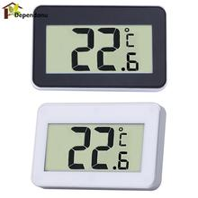 Mini LCD Digital Thermometer Temperature Meter Indoor Electronic Temperature Meter W/Magnet Hook for Refrigerator(China)