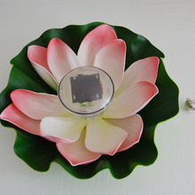 Solar Lotus Pond Water Bleaching Light Novelty Night Light Party Supply Children Gifts Pink Color