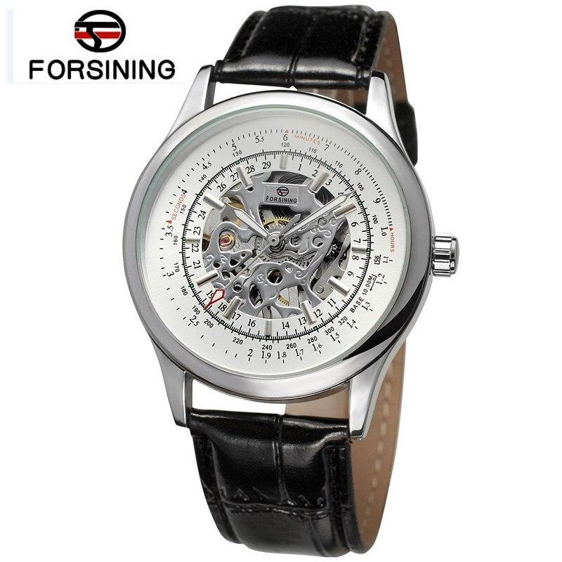 2017 Forsining Cassic Mens Skeleton Handwind Watch Mechanical Watches PU Leather Wristwatch Free Ship<br><br>Aliexpress