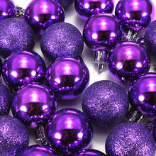 SZS Hot 24Pcs Chic Christmas Baubles Tree Plain Glitter XMAS Ornament Ball Decoration Purple