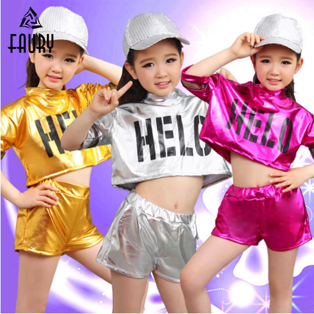 Girl danza Jazz trajes niñas niños Hip Hop danza niños Performance Jazz  traje para niña camisa dfbb7834828