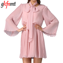 Gkfnmt Dress Women Summer V Neck Cute Bow Tie Elegant Party Bridesmaid Pink Mini Short Dresses Vestidos Big Size XL