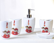 five-piece Chinese wedding ceramic bathroom set toothbrush holder tooth mug bathroom amenities gifts