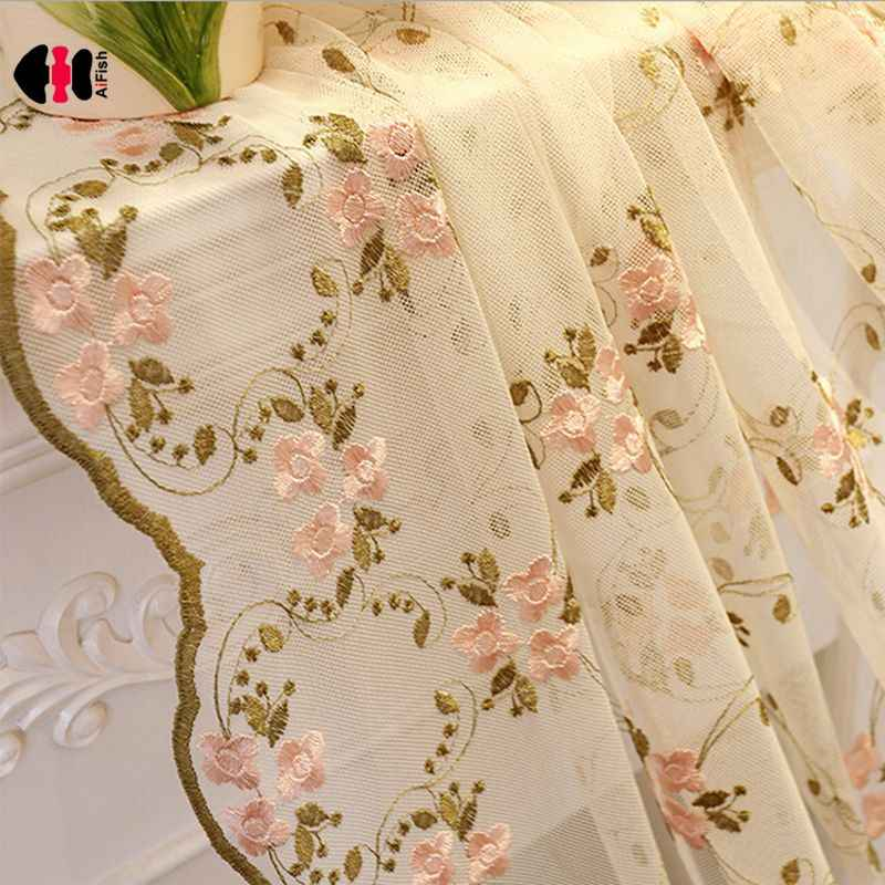 European Classical Elegant Flower Embroidery Curtain Nets Wedding Bedroom Beige Pink Cotton Polyester Window Drapes Gauze WP366C